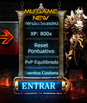 Versão Season 2, XP: 2,000x, Reset Acumulativo, Castle Siege, Kalima Event, Illusion of Temple, Land of Trial, Versões Clássica, sem bugs, Chaos Castle
